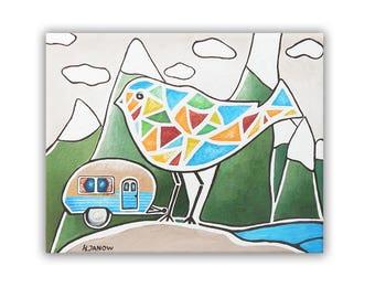 Bird Painting Wall Art, Bird Art Woodland Decor, Whimsical Art Camper Decor Travel Art 8x10