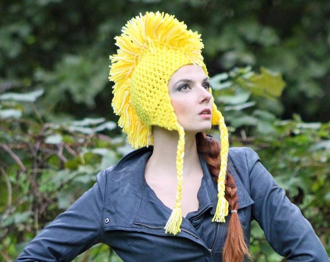 Handmade Yellow MoHawk EarFlap Hat