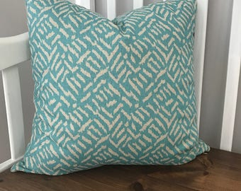 Teal and Off White Cross Hatch Pattern Pillow Cover