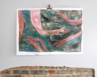 Just Try To Stay Afloat | Painting on paper | Faye Moorhouse