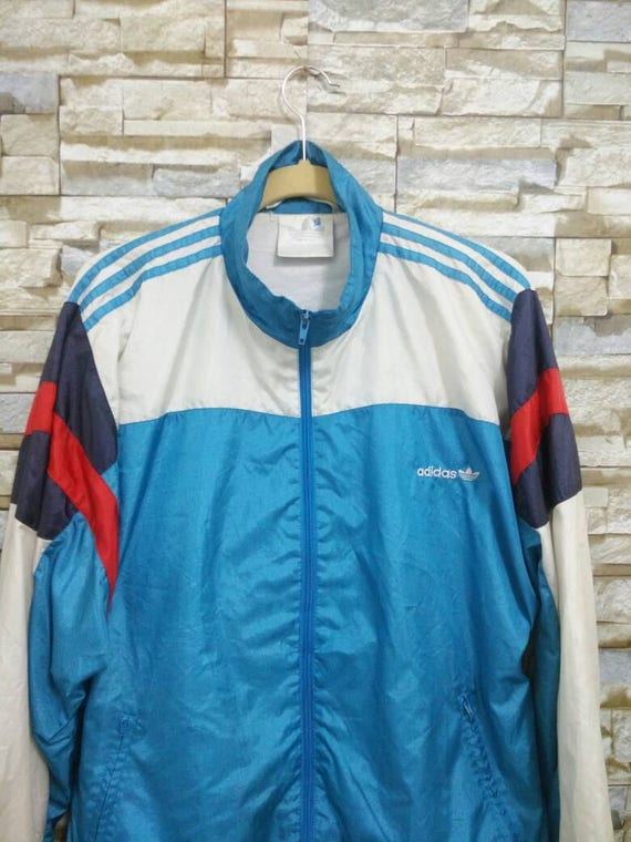 Vintage Adidas Jacket Windbreaker Adidas Tracksuit Embroidered Logo Adidas Colour Block Rare Adidas Run Dmc Hip Hop Rap Swag Style XL