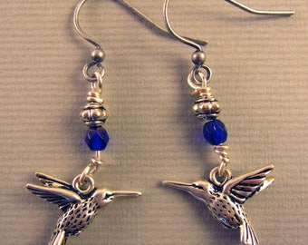 Silver Bird Dangle Earrings with Blue and Silver Beads
