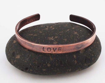 Copper Anniversary Bracelet / Copper Cuff /  Love Bracelet / Personalized Cuff / 7 Year Anniversary Gift