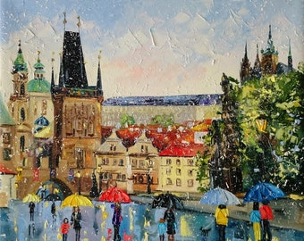 My lovely Prague; Original palette knife oil painting on canvas: cityscape painting