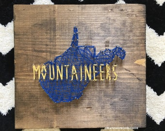 West Virginia Mountaineers String Art Sign, READY TO SHIP