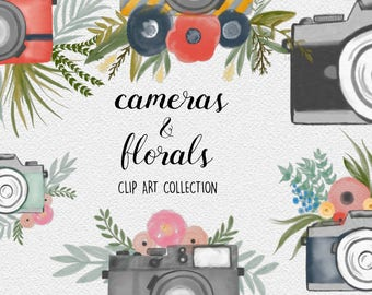 WATERCOLOR CAMERA CLIPART branding kit, commercial use, photography logo art, wedding invitation, bouquets, photo blog design elements