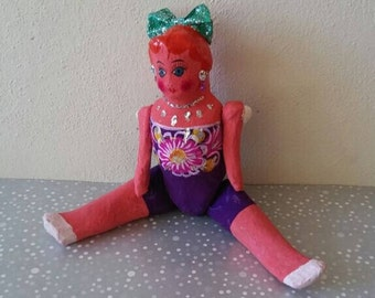 Mexican Doll, Mexican paper doll, Frida Kahlo doll, Mexican old doll, Mexican folk art doll, mexican vintage toy, mexican collectible doll