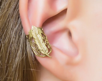 Feather ear cuff. gold ear cuff. earcuff. ear cuff non pierced. bohemian ear cuff. ear cuff gold. non pierced ear cuff