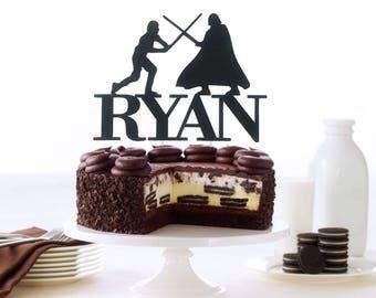 Luke VS Darth Vader Cake Topper, Custom Name Cake Topper, Star Wars Birthday Party Decoration, Star Wars Centerpiece, Star Wars Toppers