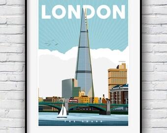 London Print, London Skyline, Travel Poster, City Prints, London Art, Cityscape, Great Britain, Wall art, City Art, The Shard, Skyline Art