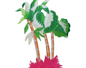 ID 1755 Group of Palm Tree Patch Tropical Beach Embroidered Iron On Applique
