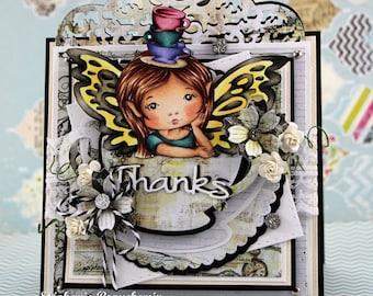 Fairy in teacup girl card