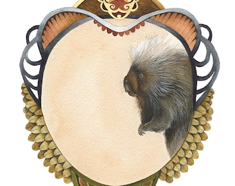 Quilted Forest: Samuel the Porcupine // 8x10 Art Print // Forest Illustration
