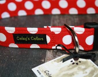 """Dog Collar """"The Polka in Cherry"""" Polka Dot Dog Collar"""
