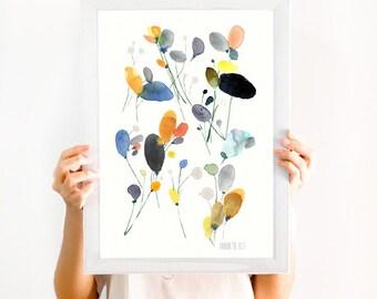 Blume-Kunstwerk. Blumen Wiese Wandkunst. Moderne Mohn Blume archivalische Druck. Botanische Plakat. Blumen-Druck von Aquarell.