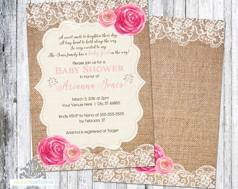 Burlap Baby Shower Invitation | Floral and Lace Shower Invitation | 5x7 Printed Invitation