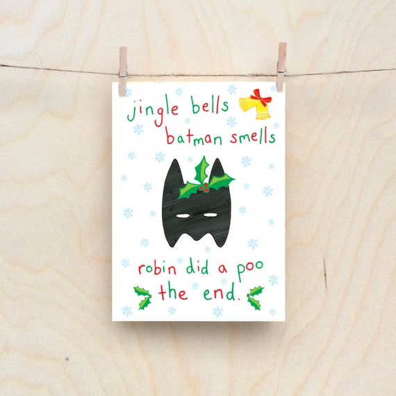Batman smells card, Rude kids cards, Silly Children's cards, Toddler rude words card, funny kids card. funny birthday card.