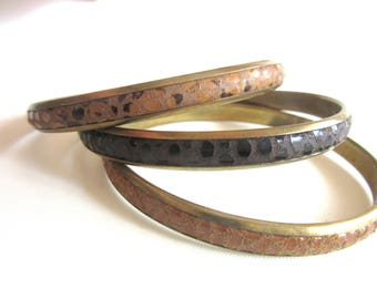 Lot 3 Snakeskin & Brass Bangles Made In France Light Medium and Dark Brown Colors