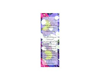 Multi Floral Wedding Bookmark Favors - Thank You Bookmarks (50 minimum.)