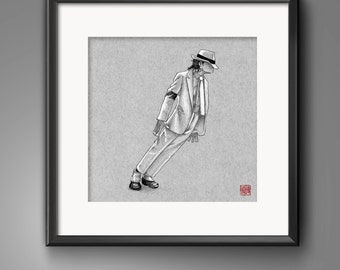 Smooth Criminal - Michael Jackson Illustrated Giclee Print