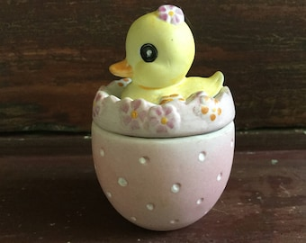 Half Price Sale. Ceramic Duck in Egg Trinket Box / Easter Decoration  / Jewelry Box