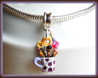 Craft Charm, European Charm, Hand Painted, Crafty Gifts, Artist Cup Charm, Crafter Charm, For Women, Czech Crystal Beads, Silver Bail,