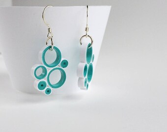 Quilled Paper multi-circle drop earrings in teal and white, sterling silver hooks, quilled paper art earrings, modern earrings