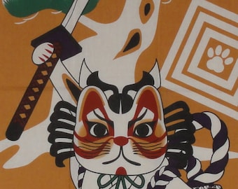 Maneki Neko Kabuki Swordsman Motif Beckoning Cat Tenugui Japanese Cat Fabric w/Free Insured Shipping