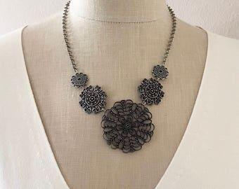 Vintage Five Filigree Rosettes Bib Pendant Necklace, 21 In, Open Cut Medallion Pendants, Darkened Silver Tone Round Mandala, Gift for Her