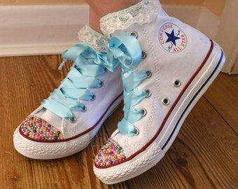 Children Custom Converse shoes with Colourful Pearls and satin ribbon shoelaces.
