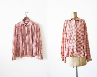 Vintage Blouse / Womans Long Sleeve Shirt / 80s blouse / coral red tile print button down shirt Small Medium