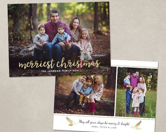 Christmas Card Template -  Photoshop template 5x7 flat card - Merriest Christmas CC120 - INSTANT DOWNLOAD