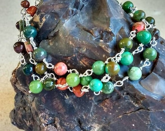 Gemstones bracelet - nature tones, multi strands - terracotta,Turquoise, green - handmade - ready-to-ship.
