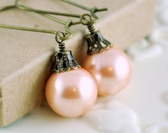 Soft Peach Christmas Earrings, Antiqued Brass, Kidney Earwires, Round Glass Pearl, Fun Holiday Jewelry