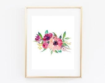 "Floral printable, floral wall art, 8x10"", Nature art print, Watercolor floral print, printable floral art, kitchen decor, home decor, pink"