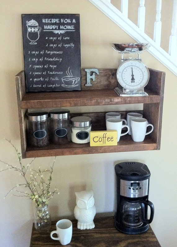 Rustic Kitchen Shelf Coffee Shelf Coffee Bar Shelf