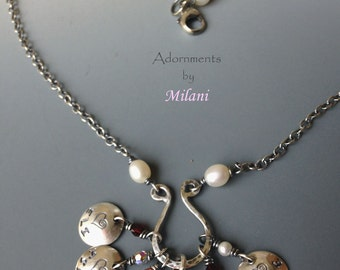 Baba Grandma Necklace with Pearls and Children Names Sterling Silver
