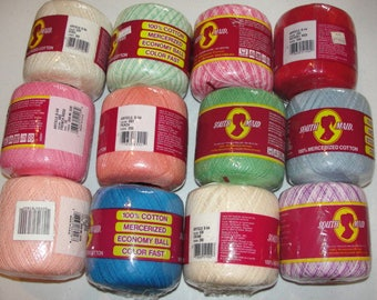 Southmaid Crochet Thread*Mercerized Cotton*Crochet Size 10*300-350 Yards*Sale*Clearance*Destash*Discontinued*Green*Pink*Red*Peach*Blue*Cream