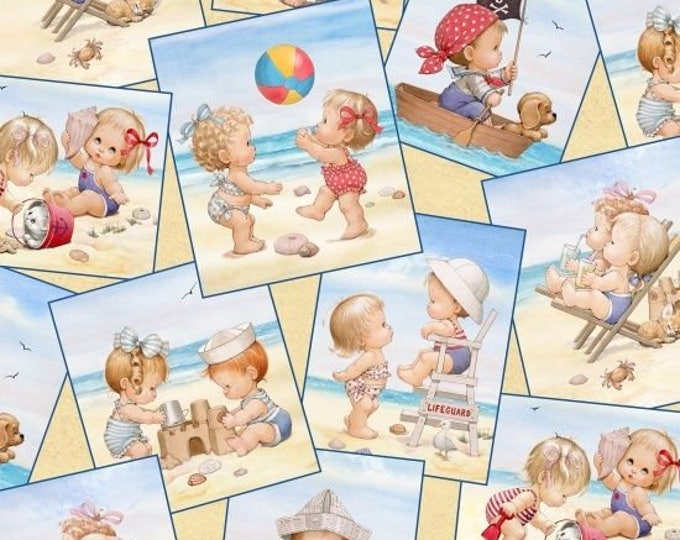 BEACH KIDS CHILDREN'S Cotton Fabric by Elizabeth Studios 44 Inches Wide