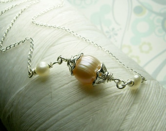 HALF PRICE - Ghostly Victorian - peach pearl necklace / sideways pearl necklace / victorian necklace / pearl necklace / peach necklace