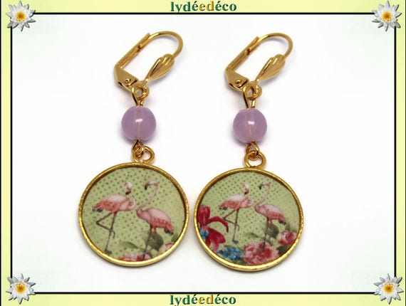 FLAMINGO Golden brass gold 24 carat 24 k pastel green lime resin pink Flamingo earrings resin glass beads