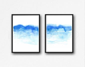 Abstract Landscape Print Set of 2 Watercolor Painting Art Print Blue Wall Decor Mountain Print Home Decor Living Room Wall Art Unframed