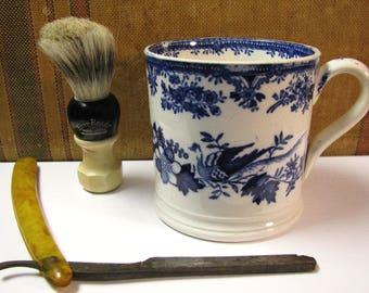 Vintage Shaving Decor, Ever-ready Shaving brush, Japan mug, Lucite Straight razor