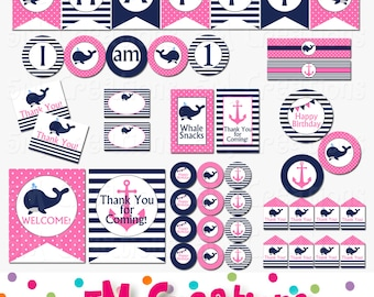Whale Birthday Party Package - Whale Baby Shower Decorations - Pink Nautical Banner Cupcake Toppers - Girl Pink Navy - INSTANT DOWNLOAD PDF