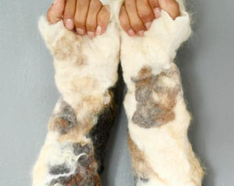 Goat gloves raw fleece fingerless gloves, shaggy hand felted animal fancy dress costume accessory in white Shetland wool