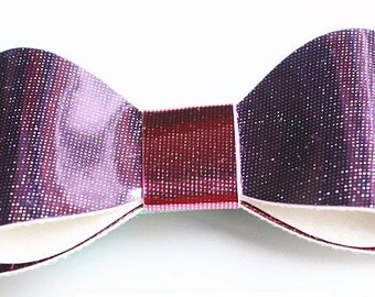Baby/Toddler/Girl/Adult 2.75 Inch Hologram / Reflective Hair Bow on Lined Alligator Clip - Rose Pink and Purple
