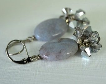 "Grey Gemstone and Silver Crystal Earrings made with Natural Chalcedony ""Angelic Moonlight"""