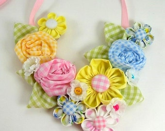 Huge Sale ... Fabric Flower Bib Necklace Tutorial 2 .... with 3 fabric flower tutorials