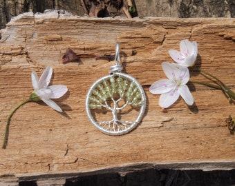 Peridot Tree of Life Pendant Sterling Silver