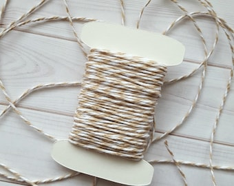 10 Yards Flax Baker's Twine, Tan and White Baker's Twine, The Twinery Twine, 100% Cotton, Light Khaki Twine